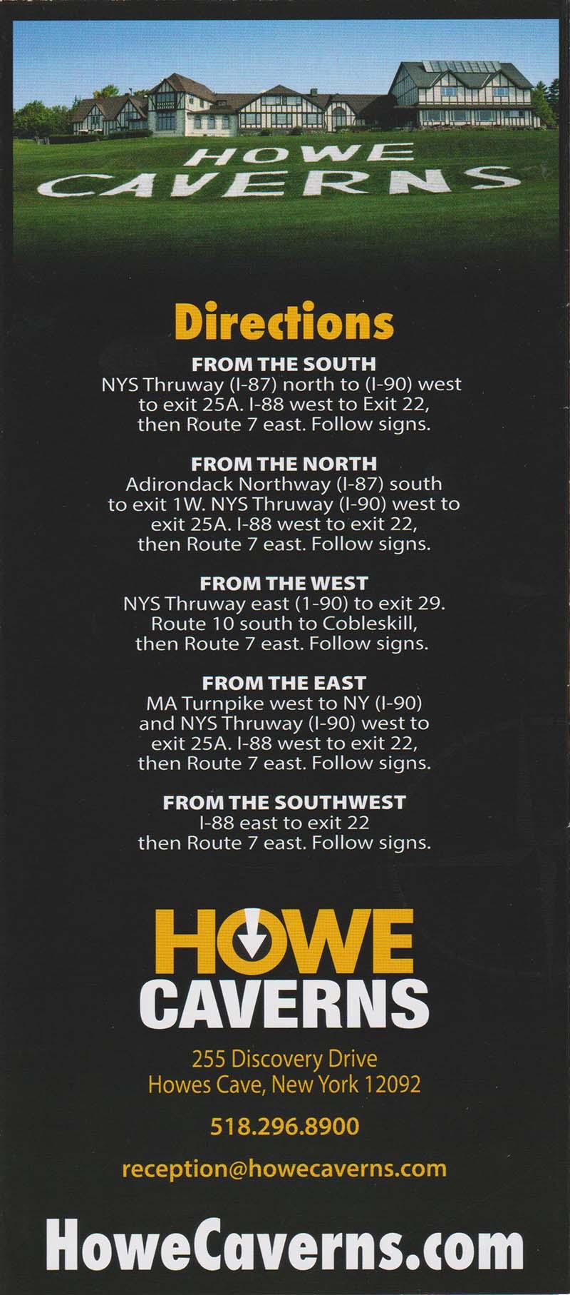 Howe Caverns Back Brochure Cover