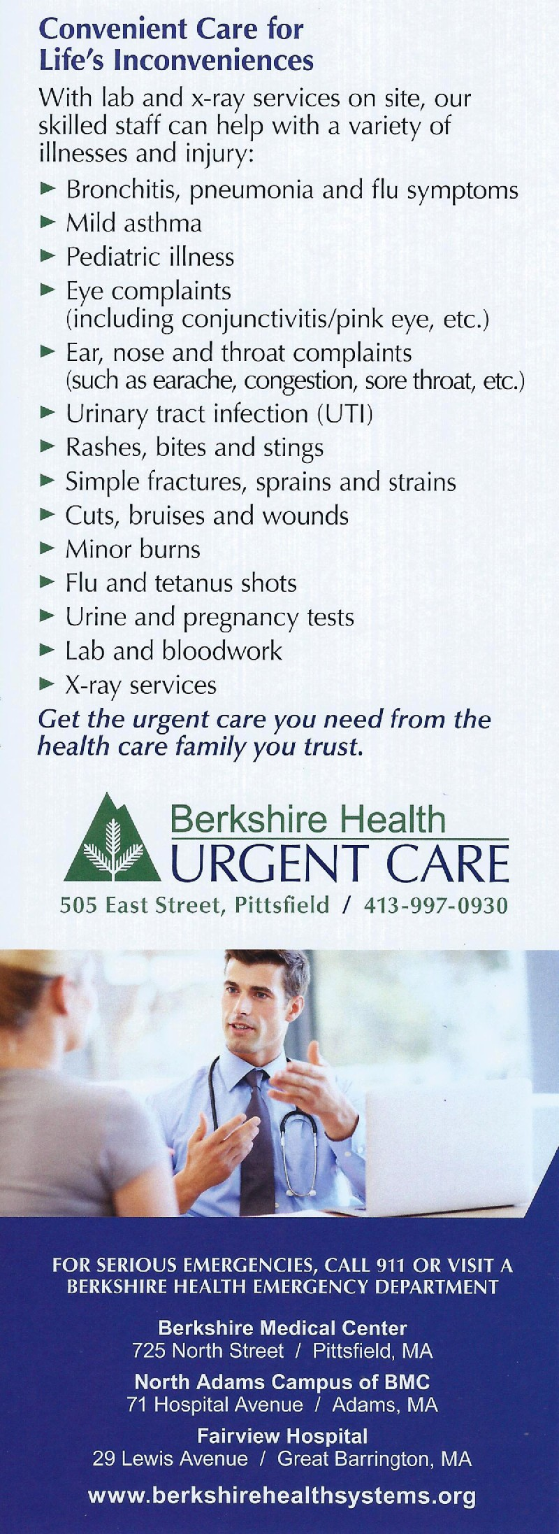 Berkshire Health Urgent Care brochure thumbnail