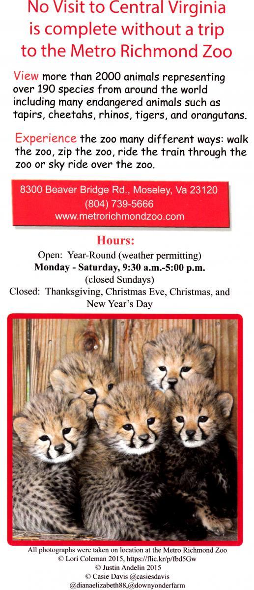 Metro Richmond Zoo Back Brochure Cover