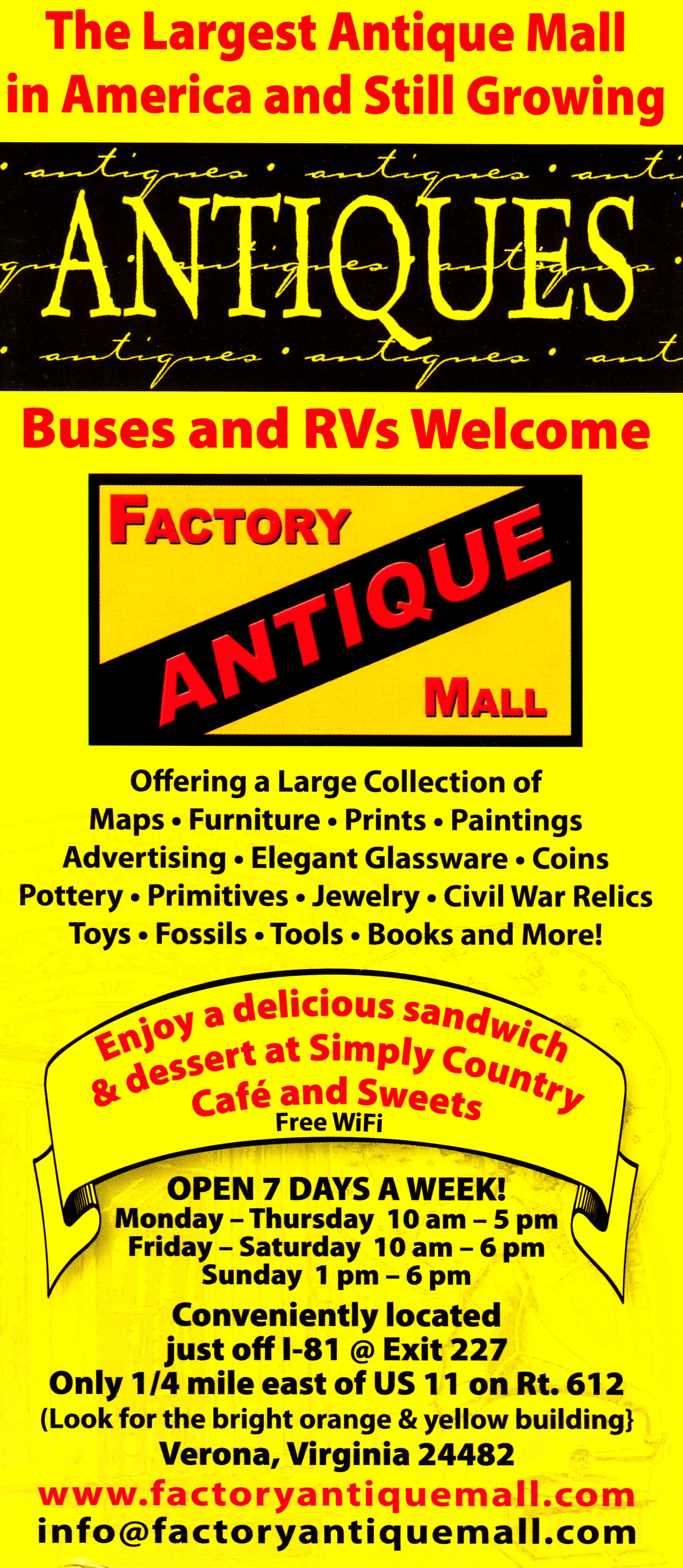 Factory Antique Mall Front Brochure Cover