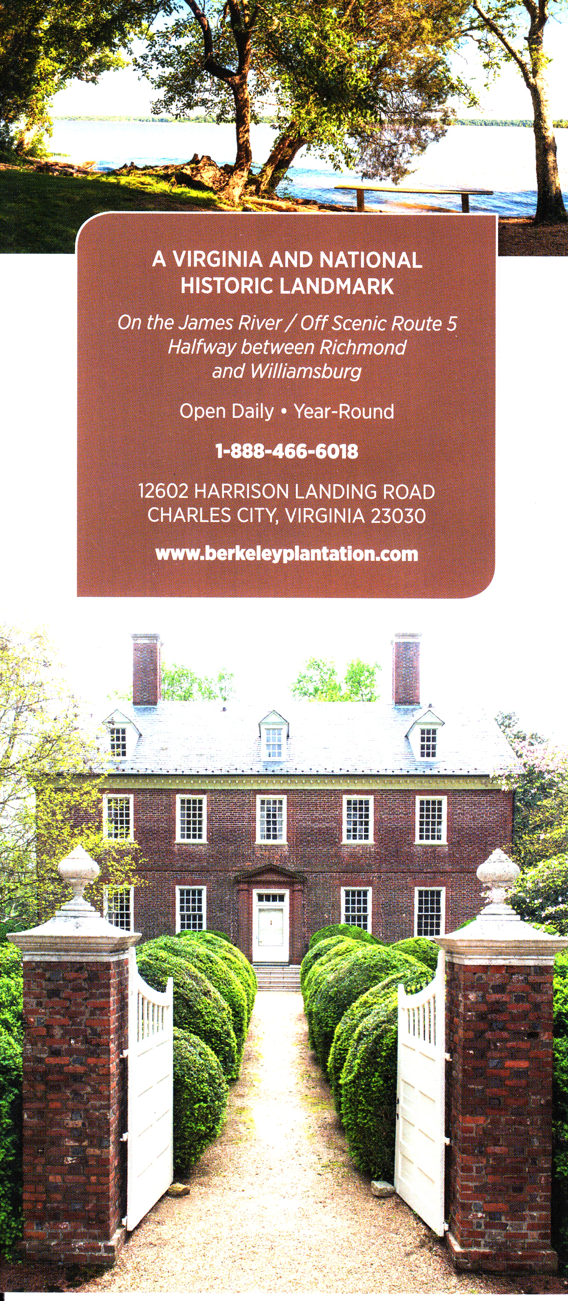 Berkeley Plantation Back Brochure Cover