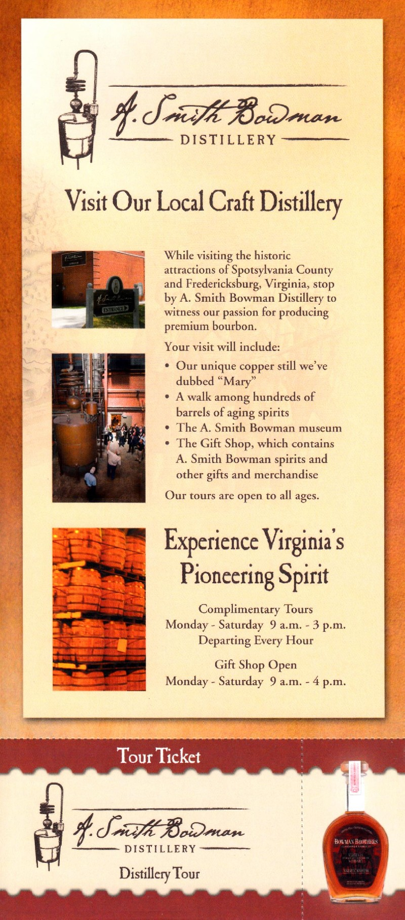 A. Smith Bowman Distillery Front Brochure Cover