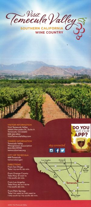 Visit Temecula Valley Back Brochure Cover