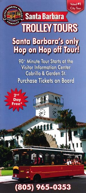 Santa Barbara Trolley Tours Front Brochure Cover