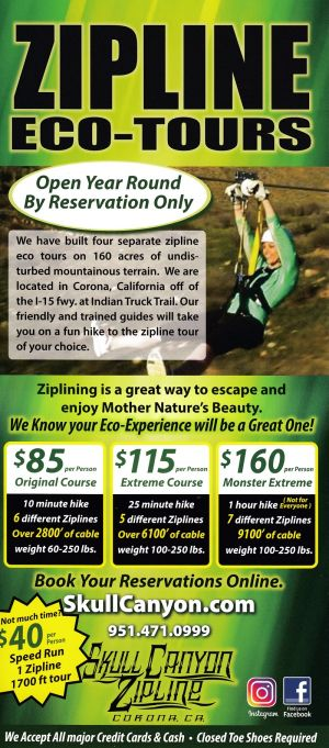 Skull Canyon Zip Line Back Brochure Cover
