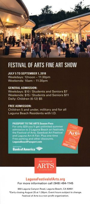 Festival of Arts Back Brochure Cover