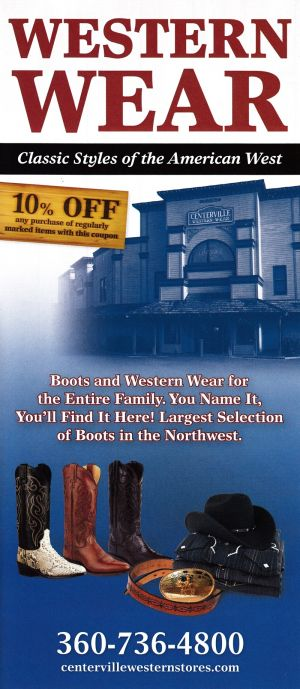 Centerville Western Stores Front Brochure Cover