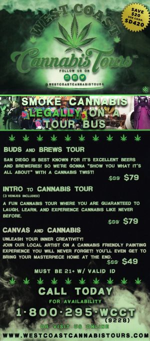 West Coast Cannabis Tours Back Brochure Cover