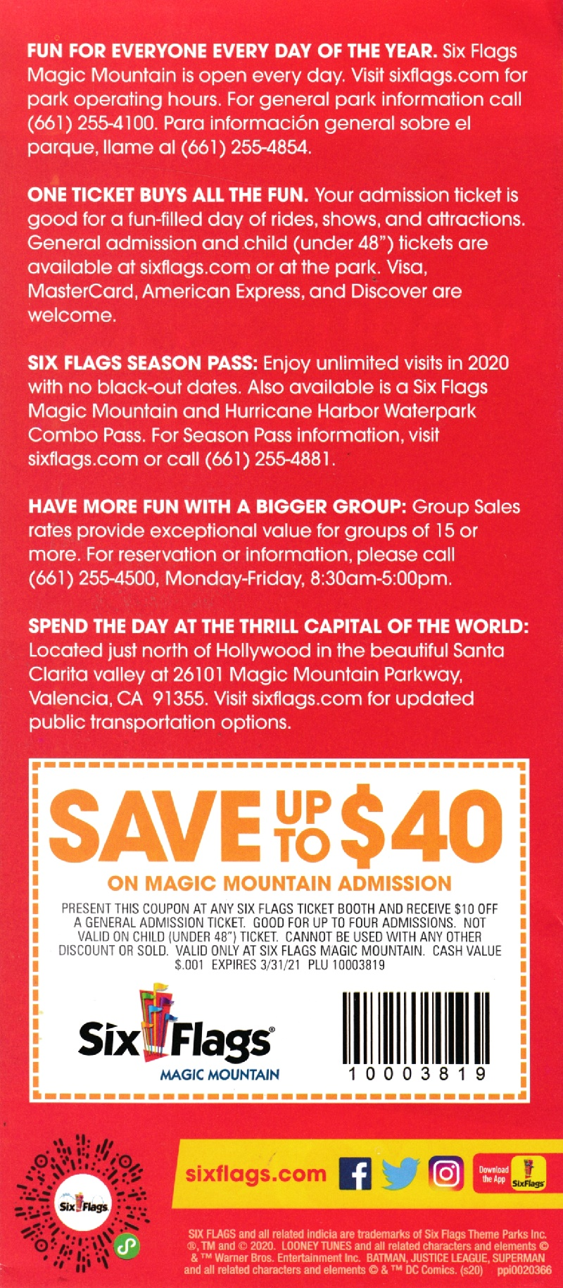 Six Flags Magic Mountain brochure thumbnail