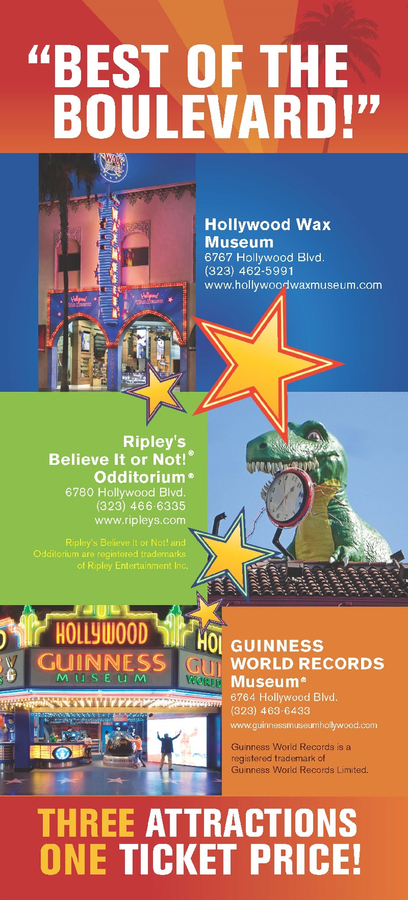 Hollywood/Guiness/Ripleys Combo brochure Back Brochure Cover