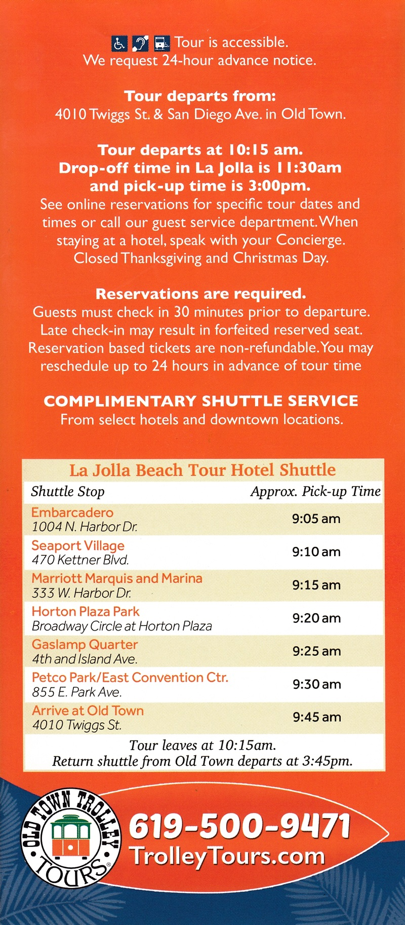 Old Town Trolley - Beach Tour brochure full size