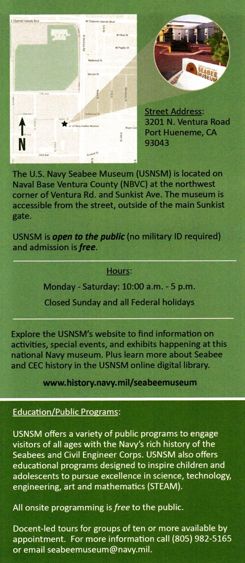 Seabee Museum brochure thumbnail