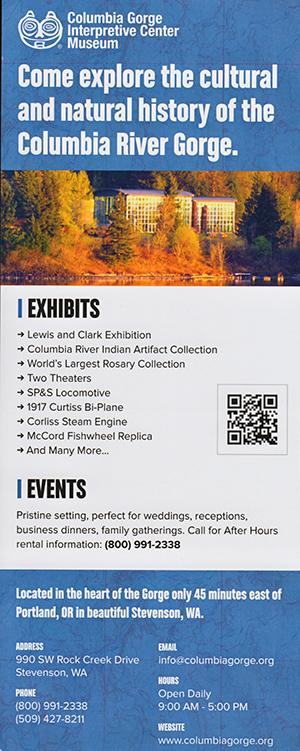 Columbia Gorge Interpretive Center Museum brochure thumbnail