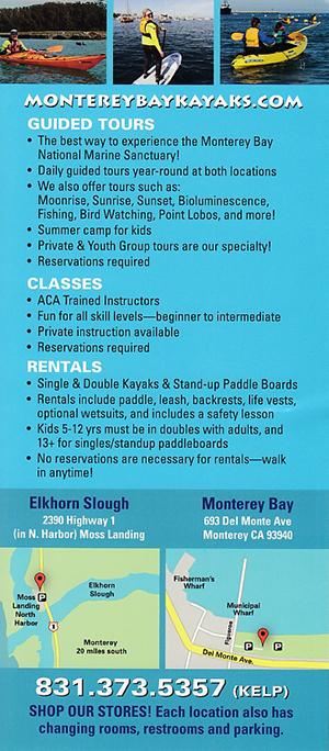 Monterey Bay Kayaks brochure thumbnail