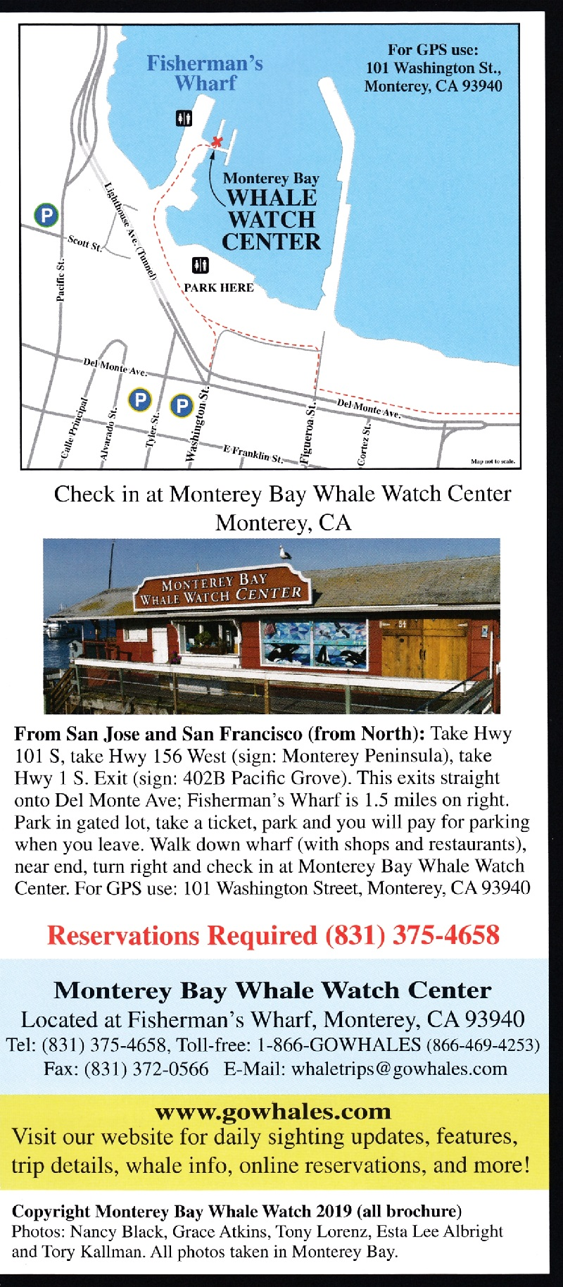 Monterey Bay Whale Watch Back Brochure Cover