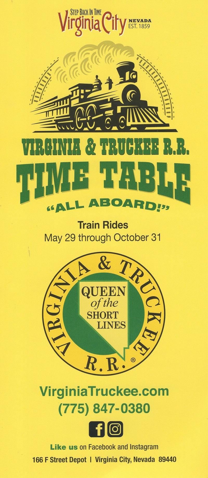 Virginia & Truckee R.R. Time Table