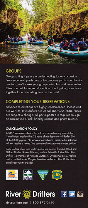 Whitewater Rafting River Drifters brochure thumbnail