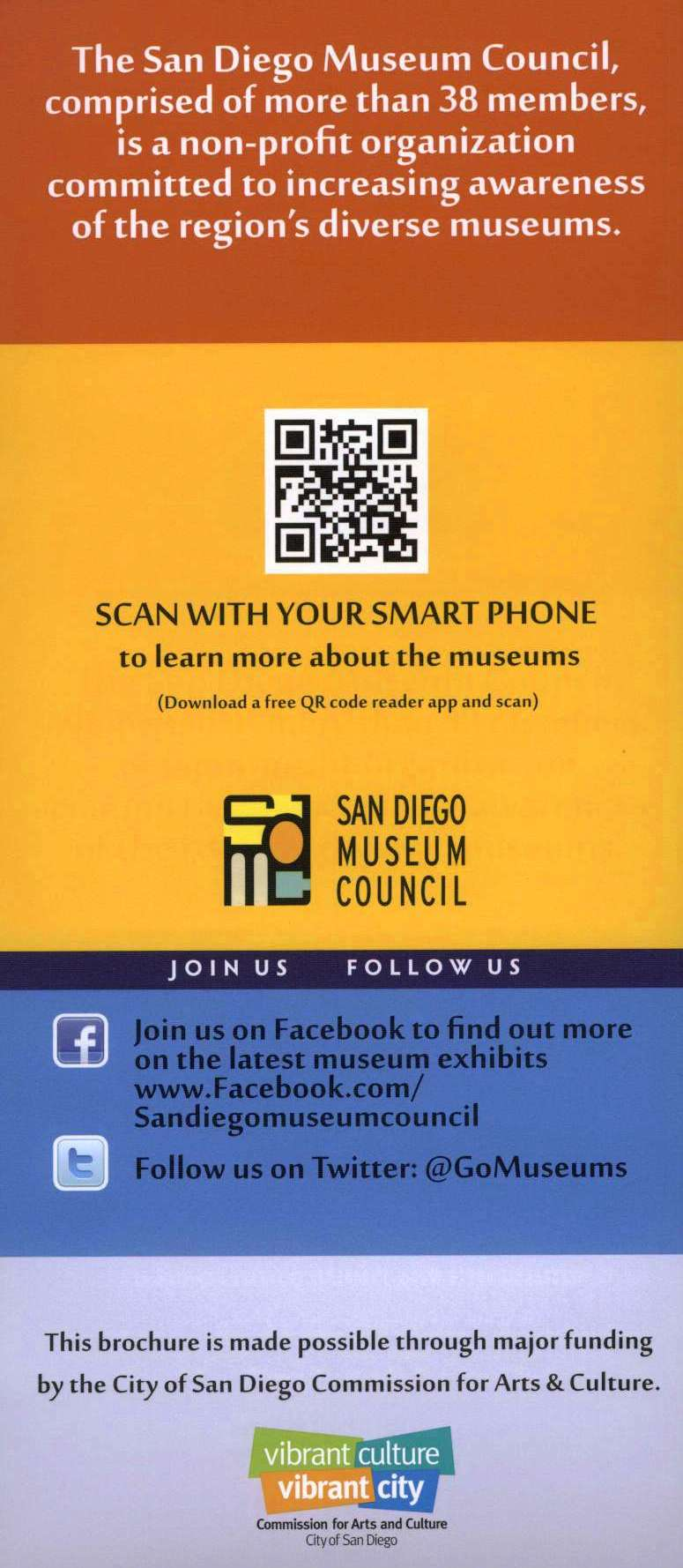Museums of San Diego Back Brochure Cover