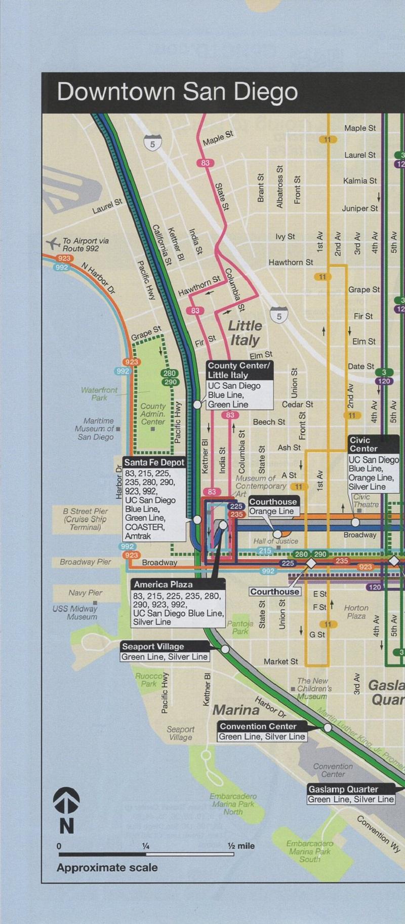 San Diego Metropolitan Transit - Regional Transit Map brochure thumbnail