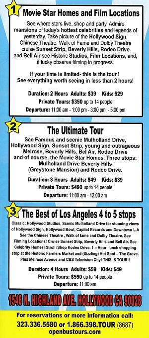 Open Bus Tours Hollywood brochure thumbnail
