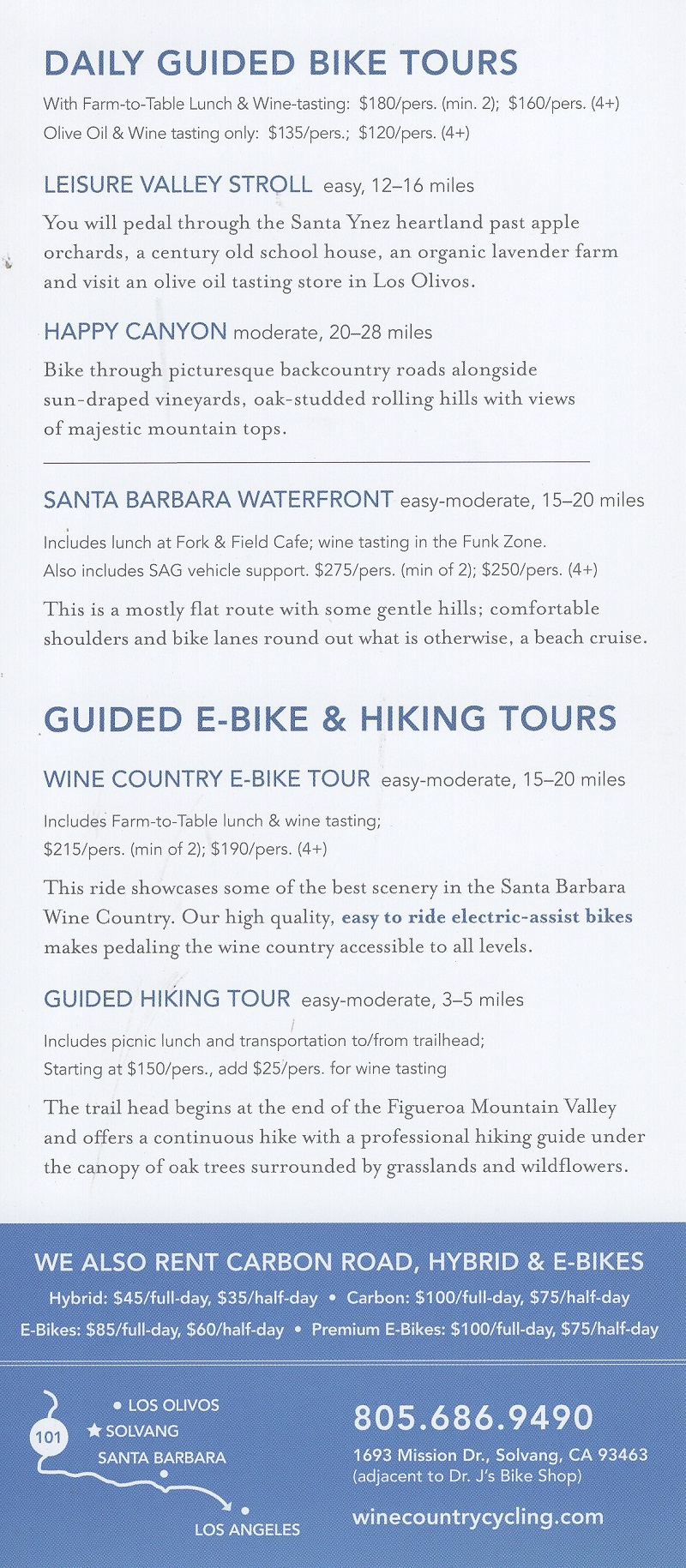 Wine Country Cycling brochure thumbnail