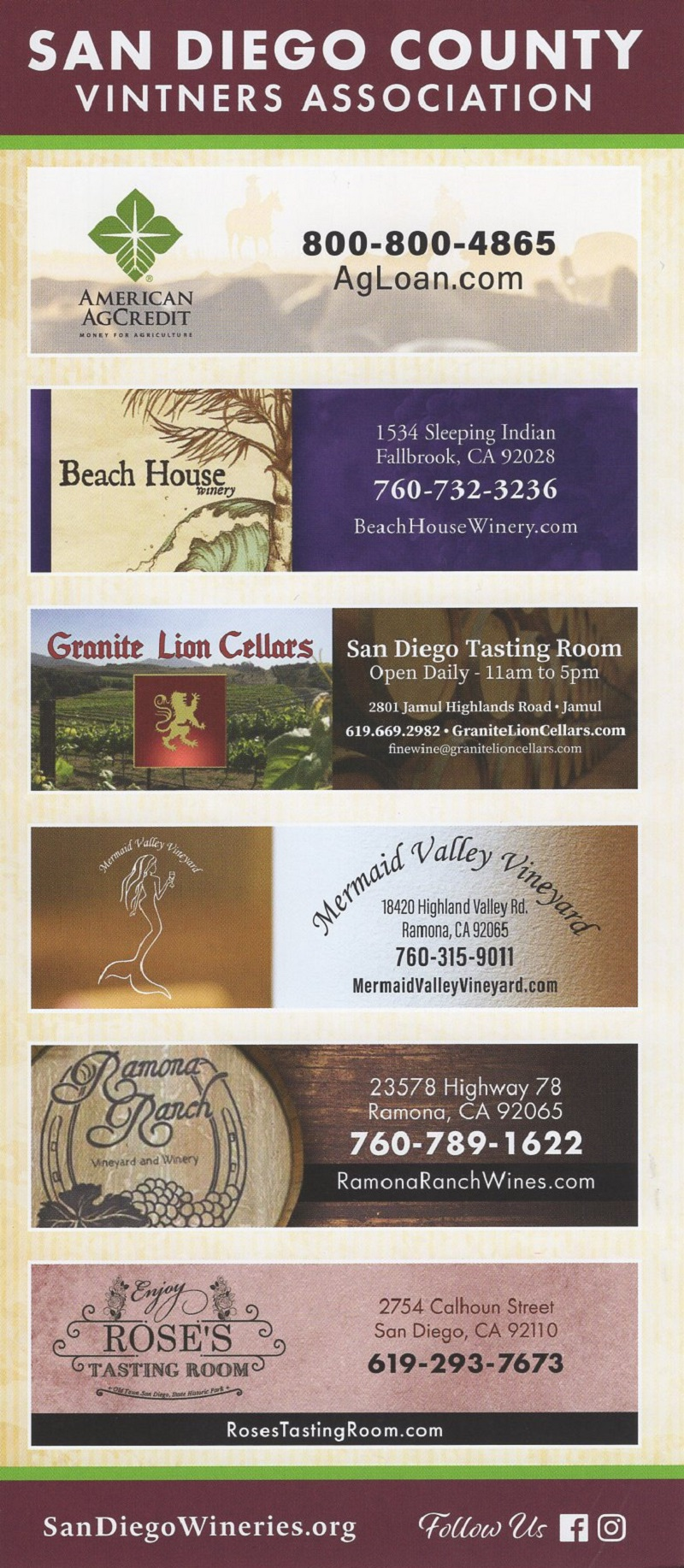 San Diego County Vintners Assn brochure full size
