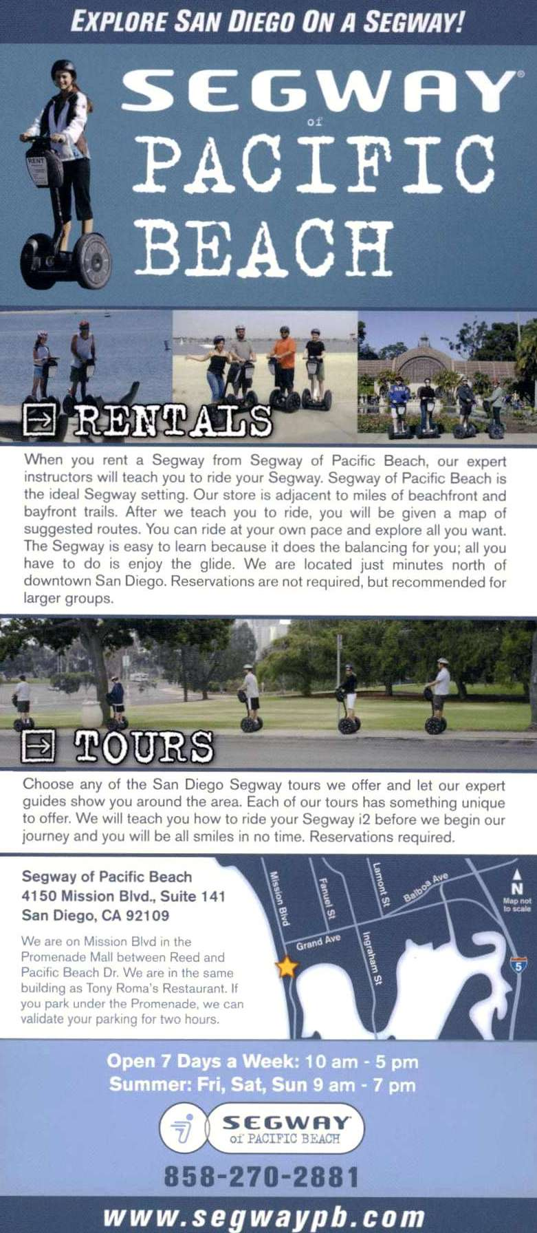 Segway of Pacific Beach Back Brochure Cover