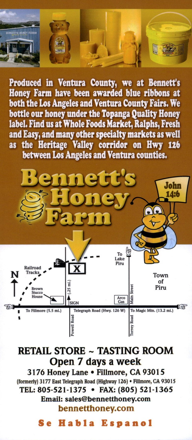 Bennett's Honey Farm brochure full size