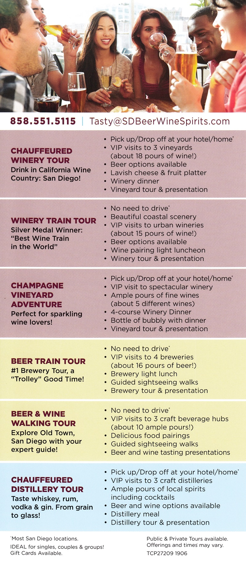 San Diego Beer & Wine Tours brochure full size
