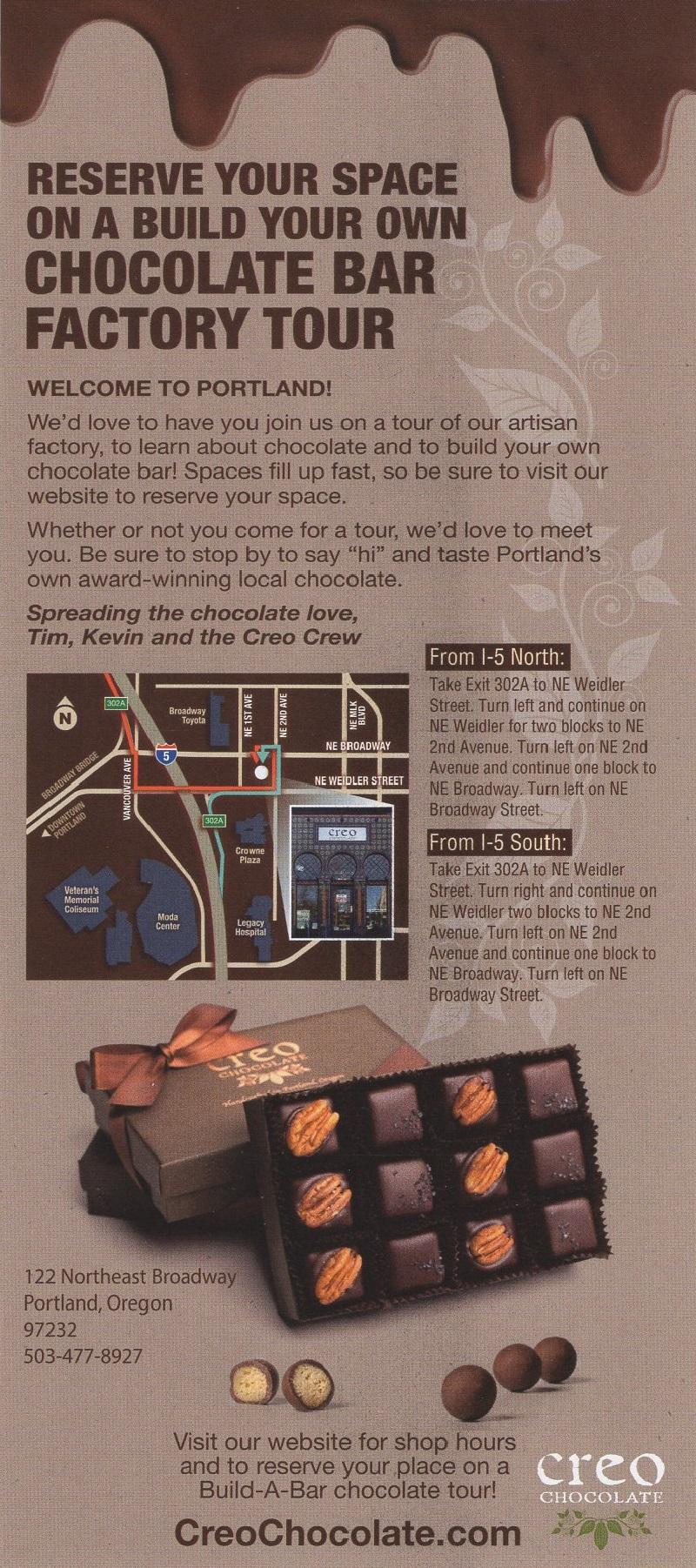 Creo Chocolate Factory Tours brochure thumbnail