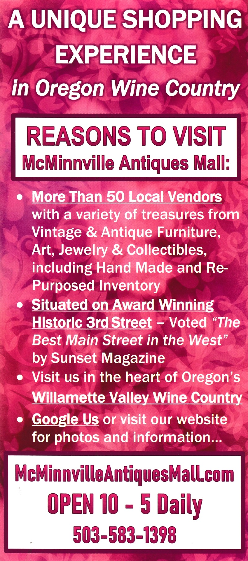 McMinnville Antiques Mall brochure thumbnail