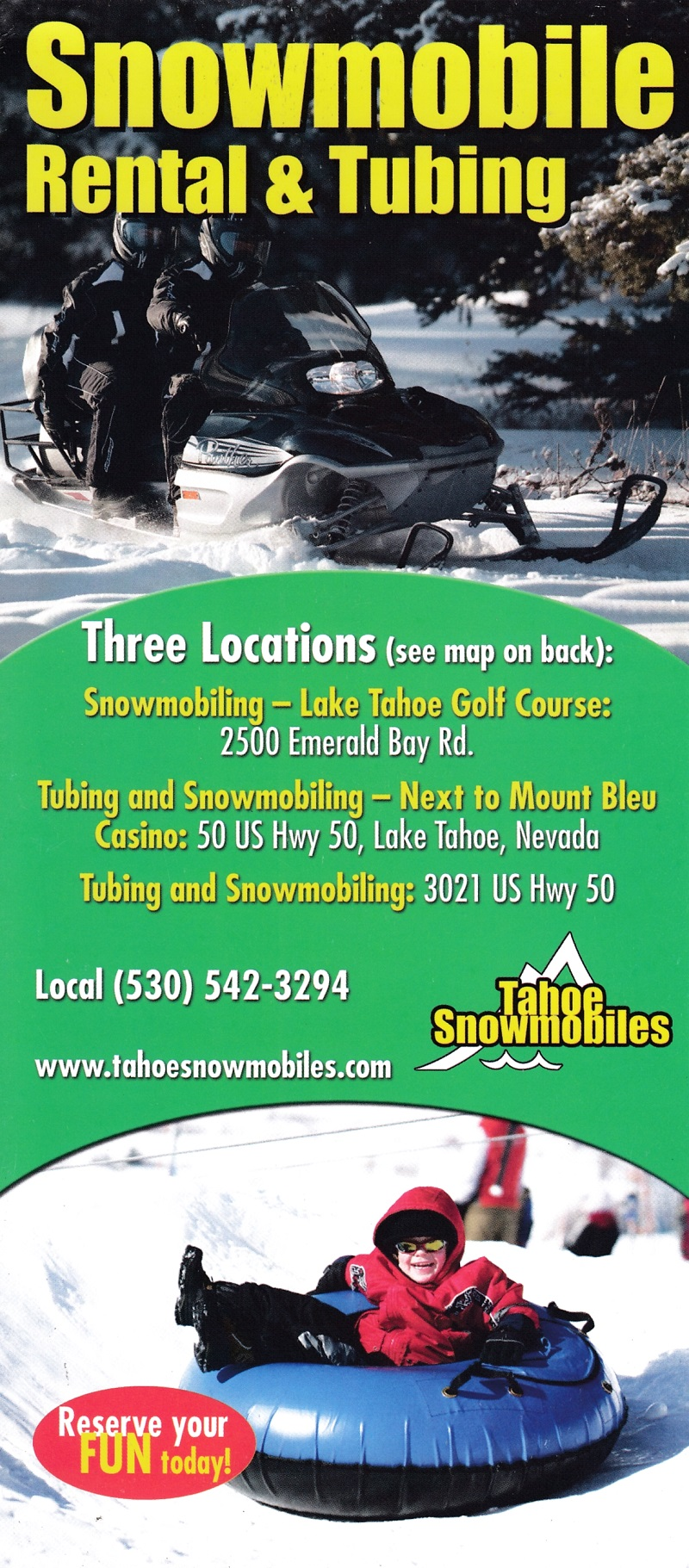 Tahoe Snowmobiles & Tubing