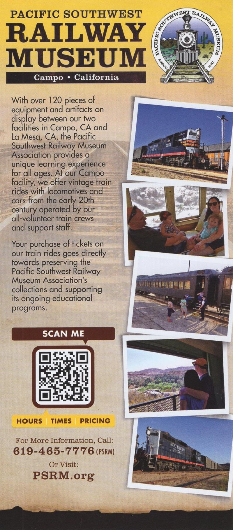 Pacific SW Railway Museum brochure thumbnail